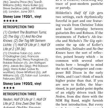 Hans Koller Retrospection - Jazz Journal - Stoney Lane Records